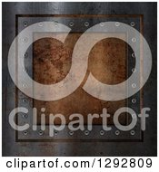 Clipart Of A 3d Rusty Metal Plaque Background Royalty Free Illustration by KJ Pargeter
