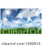 Clipart Of A Background Of 3d Green Grass Under A Blue Sky With Clouds And A Shining Sun Royalty Free Illustration