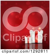 3d Valentines Day Christmas Birthday Or Anniversary Gift Boxes With Bokeh Flares On Red