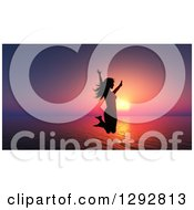 Clipart Of A Silhouetted Happy Woman Jumping Over A 3d Ocean Sunset Royalty Free Illustration