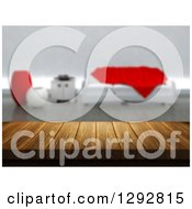 Clipart Of A 3d Close Up Of A Wooden Table And A Blurred Modern White And Red Lobby Or Living Room Royalty Free Illustration
