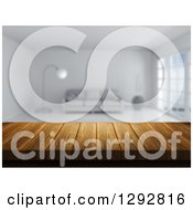 Clipart Of A 3d Close Up Of A Wooden Table And A Blurred Modern White Lobby Or Living Room Royalty Free Illustration by KJ Pargeter