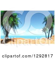 Clipart Of A 3d Tropical Beach Scene With Palm Trees And White Sand Royalty Free Illustration