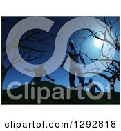 Clipart Of 3d Walking Zombies On A Hill With Dead Trees Under A Full Moon Royalty Free Illustration