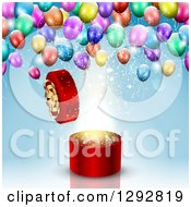Clipart Of A 3d Round Open Red Gift Box With Magic Light And Colorful Party Balloons Over Blue Royalty Free Vector Illustration by KJ Pargeter