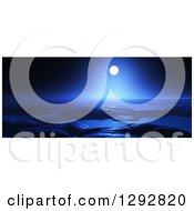 Clipart Of A Full Moon Shining Over A Foreign Planet Ocean Landscape At Night Royalty Free Illustration by KJ Pargeter
