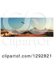 Clipart Of A 3d Fictional Planet With A Spaceship And Moon Royalty Free Illustration by KJ Pargeter