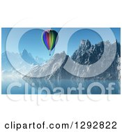 Clipart Of A 3d Hot Air Balloon Floating Over A Lake And Mountains Royalty Free Illustration