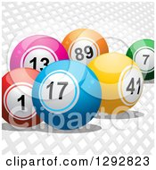 Clipart Of 3d Colorful Bingo Or Lottery Balls Over White Mesh Royalty Free Vector Illustration