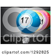 Clipart Of 3d Row Of Colorful Bingo Or Lottery Balls On A Silver Plaque Over Black Perforated Metal Royalty Free Vector Illustration