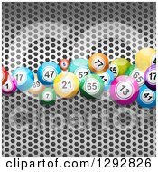 Clipart Of 3d Colorful Bingo Or Lottery Balls Over Perforated Metal Royalty Free Vector Illustration
