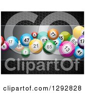 Clipart Of 3d Colorful Bingo Or Lottery Balls On A Silver Plaque Over Black Perforated Metal Royalty Free Vector Illustration