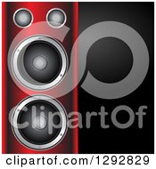 Clipart Of A 3d Music Speaker Tower With A Blank Black Panel Of Text Space Royalty Free Vector Illustration by elaineitalia