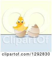 Clipart Of A Happy Yellow Chick In A Broken Egg Over Pastel Blue And Green Royalty Free Vector Illustration