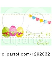 Clipart Of A Frame Of 3d Easter Eggs Vines And Heart Bunting With Text On Pastel Green Royalty Free Vector Illustration