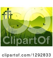 Clipart Of A Green Easter Landscape With Crosses On A Hill Sunshine Plants Birds And Butterflies Royalty Free Vector Illustration by elaineitalia