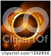 Clipart Of A 3d Music Speaker With Diagonal Panels Of Black And Orange Flares Royalty Free Vector Illustration