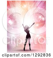 Clipart Of A Silhouetted Female Pop Star Celebrity Cheering Over Bright Lights Flares And Pastel Colors Royalty Free Vector Illustration by KJ Pargeter