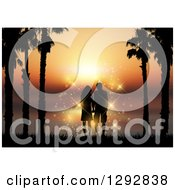 Romantic Silhouetted Couple Holding Hands Between Palm Trees Against An Orange Ocean Sunset