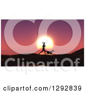 Silhouetted Fit Woman Jogging With Her Dog Against A Pink Ocean Sunset
