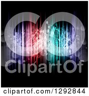 Clipart Of A Background Of Floating Music Notes Bokeh Flares And Colorful Lights On Black Royalty Free Vector Illustration by KJ Pargeter