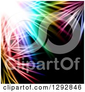 Clipart Of A Background Of Bright Light And Colorful Feathery Lights On Black Royalty Free Vector Illustration