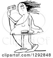 Clipart Of A Chubby Black And White Cavewoman Blow Drying Her Hair Royalty Free Vector Illustration by djart