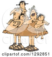 Clipart Of A Chubby Caveman Dad And Mom With Children Royalty Free Vector Illustration by djart
