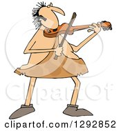 Clipart Of A Chubby Sophisticated Caveman Playing A Violin Royalty Free Vector Illustration