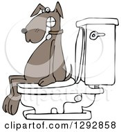Clipart Of A Brown Dog Pooping On A Toilet Royalty Free Vector Illustration