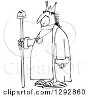 Clipart Of A Chubby Black And White Male King With A Robe And Staff Royalty Free Vector Illustration by djart