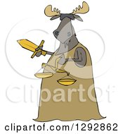 Clipart Of A Blindfolded Lady Justice Moose Holding A Sword And Scales Royalty Free Vector Illustration
