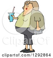 Clipart Of A Chubby White Woman In Capris Holding A Fountain Soda Royalty Free Vector Illustration by djart