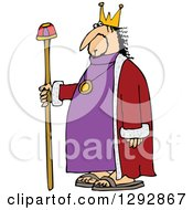 Clipart Of A Chubby White Male King With A Robe And Staff Royalty Free Vector Illustration