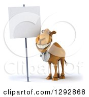Clipart Of A 3d Happy Doctor Veterinarian Camel Grinning By A Blank Sign Royalty Free Illustration