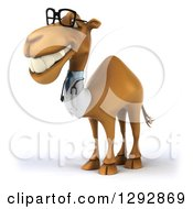 Clipart Of A 3d Happy Bespectacled Doctor Veterinarian Camel Grinning And Facing Left Royalty Free Illustration