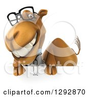 Clipart Of A 3d Happy Bespectacled Doctor Veterinarian Camel Grinning Over A Sign Royalty Free Illustration