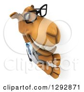 Clipart Of A 3d Happy Bespectacled Doctor Veterinarian Camel Smiling Around A Sign Royalty Free Illustration