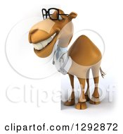 Clipart Of A 3d Happy Bespectacled Doctor Veterinarian Camel Facing Left And Smiling By A Sign Royalty Free Illustration