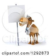 Clipart Of A 3d Happy Bespectacled Doctor Veterinarian Camel Smiling Up At A Blank Sign Royalty Free Illustration