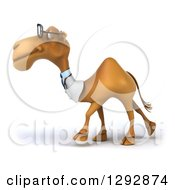 Clipart Of A 3d Bespectacled Doctor Veterinarian Camel Walking To The Left Royalty Free Illustration