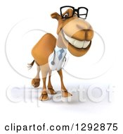 Clipart Of A 3d Bespectacled Doctor Veterinarian Camel Grinning And Walking To The Right Royalty Free Illustration