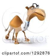 Clipart Of A 3d Bespectacled Doctor Veterinarian Camel Walking To The Right Royalty Free Illustration
