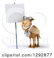 Clipart Of A 3d Happy Bespectacled Doctor Veterinarian Camel Smiling By A Blank Sign Royalty Free Illustration