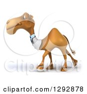 Clipart Of A 3d Happy Doctor Veterinarian Camel Walking To The Left Royalty Free Illustration