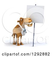 Clipart Of A 3d Happy Doctor Veterinarian Camel Smiling Up At A Blank Sign Royalty Free Illustration