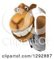 Clipart Of A 3d Happy Doctor Veterinarian Camel Grinning Around A Sign Royalty Free Illustration