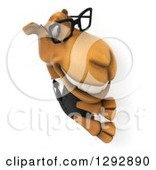 Clipart Of A 3d Happy Bespectacled Business Camel Smiling Around A Sign Royalty Free Illustration