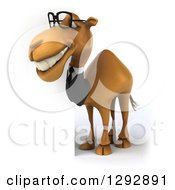 Clipart Of A 3d Full Length Happy Bespectacled Business Camel Facing Left And Smiling By A Sign Royalty Free Illustration