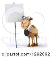Clipart Of A 3d Happy Bespectacled Business Camel By A Blank Sign Royalty Free Illustration